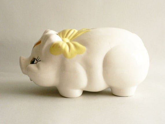 Vintage ceramic piggy bank large pig coin holder by etsplace Large piggy banks for adults