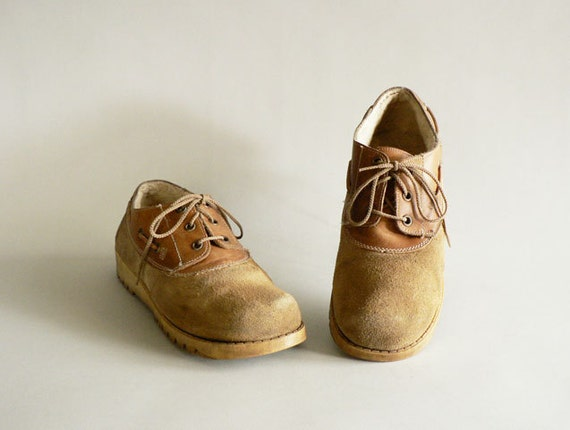 Camel Tan Leather Oxfords, Women's Size 8.5  Tie Front