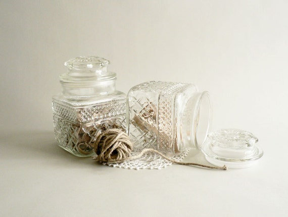 Vintage Glass Apothecary Jars, Set of Two