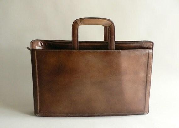 Vintage  Brown Faux Leather Portfolio, Business Briefcase