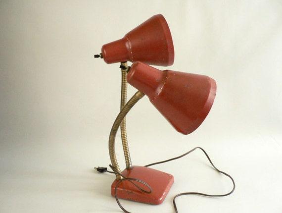Vintage Burnt Orange Double Goose-neck Lamp