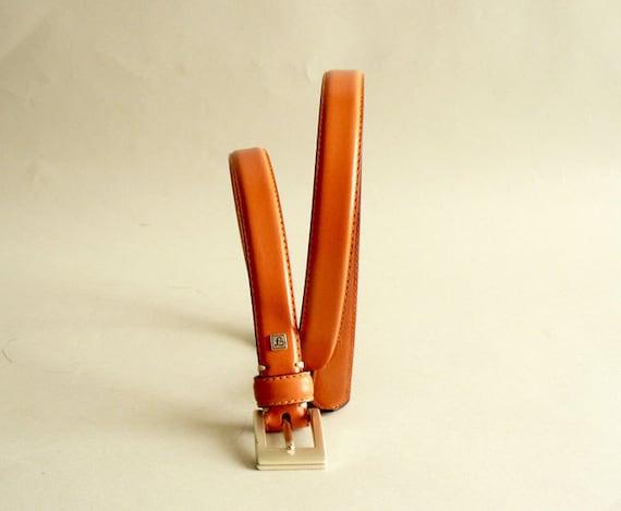 Women's Orange Leather Skinny Belt by Fossil