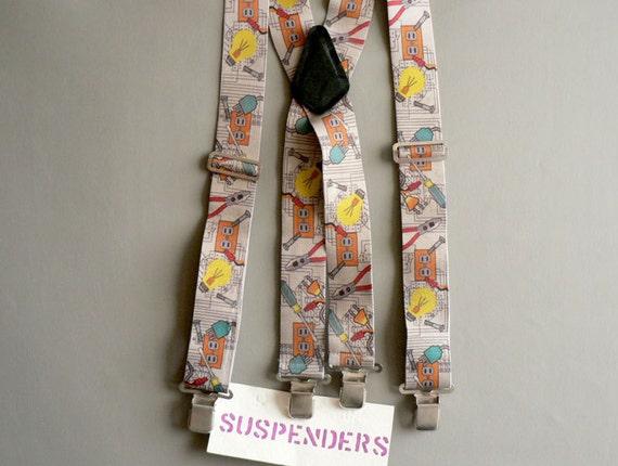 Mens Costume Suspenders, Print Workman Mens Braces