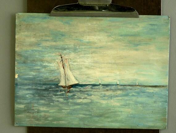 Vintage Original Nautical Painting, Sailboat Oil Painting Original Art