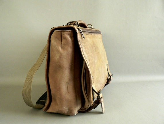 Distressed Tan Leather Messenger Bag / Briefcase
