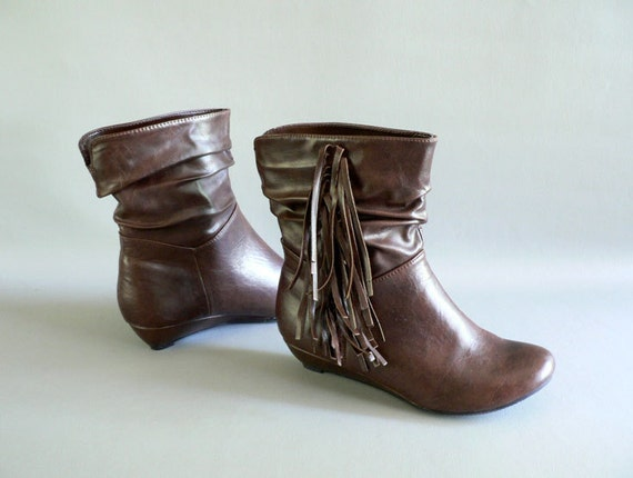 Womens Vintage Fringe Brown Ankle Boots Size 6
