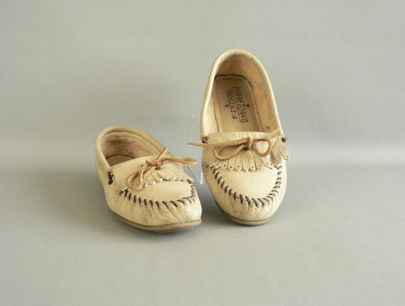 Tan Leather Moccasins, Women's Size 8 Driving Moccasins
