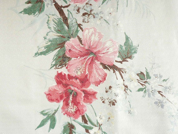 Hawaiian Hibiscus Print Drapery Panels, Set of Four Long Window Curtains