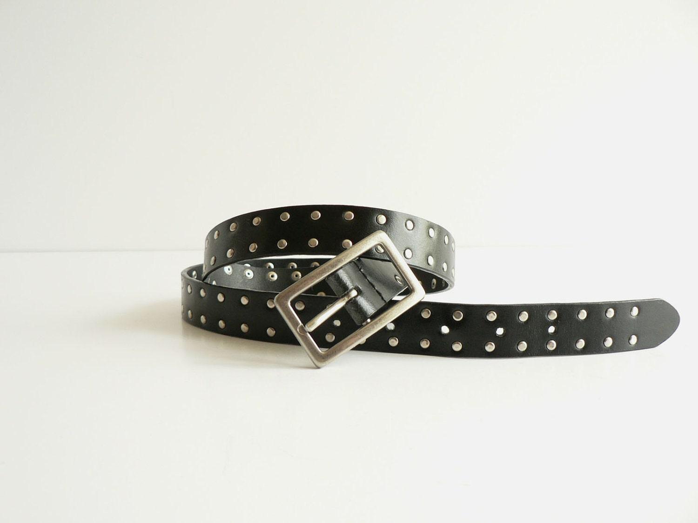 s black leather studded belt