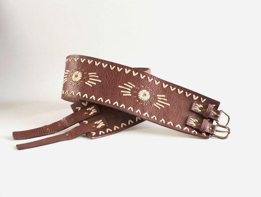 brown leather corset belt s western belt by etsplace