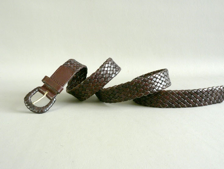 s vintage brown braided leather belt size large by