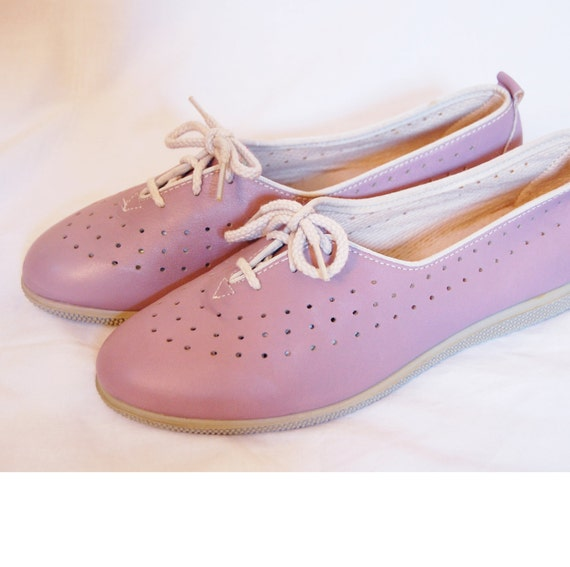 Vintage 1970s Shoes / 70s Lavender Leather Loafers by Dexter / DEADSTOCK  (Size 8M Womens)