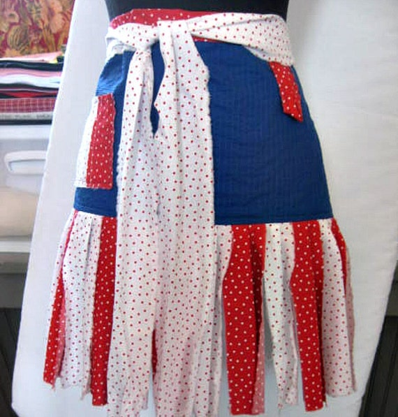 Shabby Chic Apron - Layered Tiers of USA Colors Red, White and Blue - Half Apron - Perfect for your 4th of July BBQ