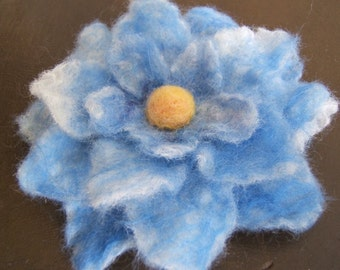 Nuno Felted Blue Flower Brooch/Pin