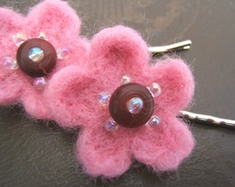 Cherry Blossom Little Felted Flower Bobby Pins