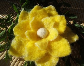 Nuno Felted Bright YellowFlower Brooch/Pin Treasury Item :)