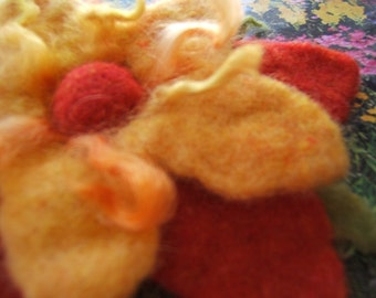 Tangy Tangerine Large and Fabulous Felted Flower Brooch/Pin