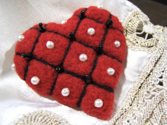 Queen of Hearts -  Red beaded Felted Heart  Brooch/Pin