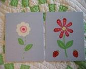 Sweet Strawberry Daisy Flower Nursery Wall Art - 2 Piece Paintings Set