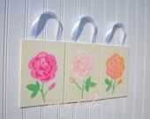 Shabby Baby Wildflower Nursery Wall Art - Old English Rose Garden - 3 piece Painting Set