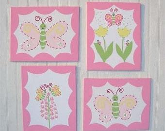 4 Piece Madison Tulip Baby Girls Kids Room Wall Art Decor Pink Yellow Butterflies Bugs Daisy Handpainted