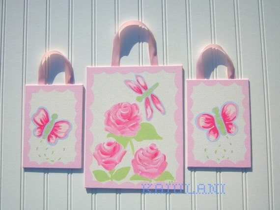 Shabby Mia Butterfly Rose Nursery Painting -  3 Piece Painting Set