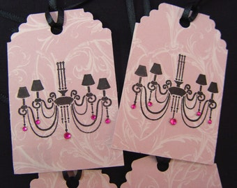 4 Gift Tags Black Chandelier with Sparkles on Pink Scroll