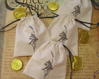 4 Favor Gift Craft Bags Handstamped Unbleached Muslin Drawstring Bags.