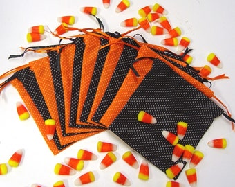 12 Party Favor Bags, Halloween, Trick or Treat, Gift Bags, Black, Orange, Craft Bags