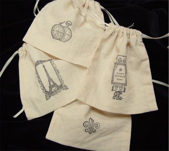 Favor, Gift Bags. Handstamped French.