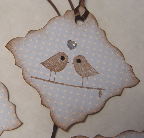 Gift tags. Love birds on blue.