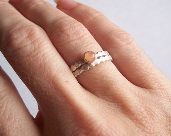 Pretty Peachy...  Soft and Simple...  Peach Moonstone and Sterling and Fine Silver Ring Set