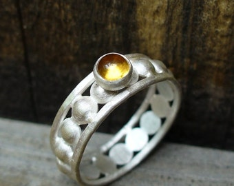 Renaissance faire ...Golden Citrine and Sterling Silver Ring...