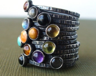 PICK 2 - Sterling Silver Mother's Stackable Ring Set - Your choice of birthstones