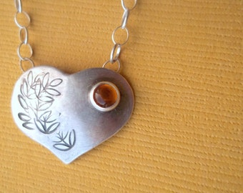 Personalized - Tiny Heart Charm - AMBER - Sterling and Fine Silver Necklace - available with other stones - Mother's Day Birthstone Necklace