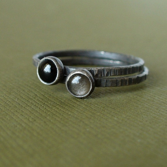Silvery Black - Set of Tiny Stacking Rings