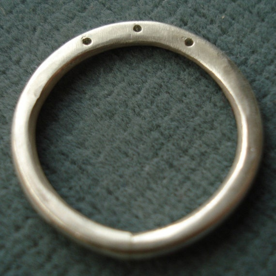 Sterling Silver 3-Hole Ring Shank for Wire Wrapping Beads - ONE LEFT - Size 8
