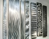 All Natural Silver Modern Metal Wall Accent - Etched Designs Abstract Metal Art - Multipiece Silver Sculpture - Divided Unison by Jon Allen