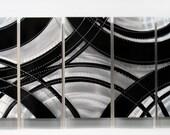 Large Black/Silver Modern Metal Wall Art - Contemporary Metal Painting - Wall Sculpture - Wall Accent - Crossroads XL by Jon Allen