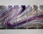 Purple Metal Abstract hand Painted Wall Art Wild Imagination by Jon Allen
