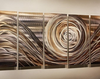 Contemporary Gold Metal Wall Art - Modern Metal Painting - Unique Painted Home Decor - Accent - Spiral of Emotions II by Jon Allen