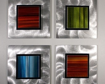 Vibrant Red, Green & Blue Metal Wall Art - Abstract Silver 4 Piece Set - Visions of Autumn by Jon Allen