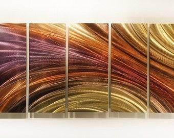 Earthtone & Purple Modern Metal Painting - Handmade Abstract Metal Art - Wall Art - Home Decor - Titanium Burn by Jon Allen