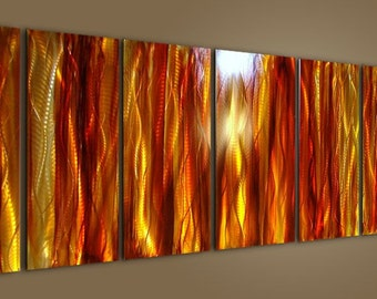 Gold & Red Abstract Metal Wall Art - Modern Painting - Home Decor - Wall Accent - Artwork - Amber Reeds by Jon Allen
