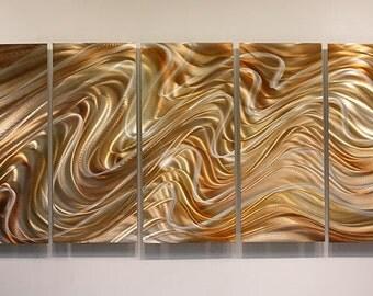 Copper & Silver Abstract Metal Wall Art - Large Handmade Metal Painting - Modern Wall Sculpture - Mystic Desert by Jon Allen