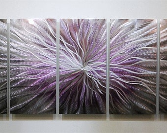 Purple & Silver Large Abstract Metal Art - Handpainted Fantasy Modern Metal Painting - Wall Decor - Metal Accent - Royal Blush by Jon Allen