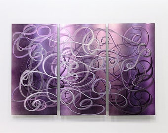 Purple Abstract Metal Wall Art - Modern Metal Painting - Home Decor - Wall Accent - Wall Hanging - Confused Passion by Jon Allen