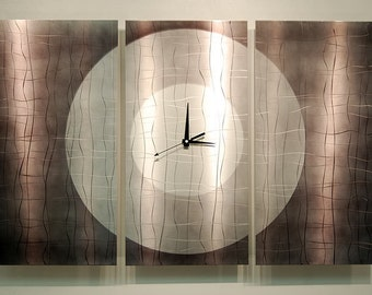 Modern Metal Wall Clock - Contemporary Functional Metal Art - Home Decor - Wall Accent - Hanging Timepiece - Dynamic Onyx Steel by Jon Allen