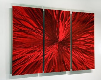 Red Modern Metal Wall Art - Contemporary Home Decor - Bold Metal Painting - Abstract Accent - Metal Artwork - Intensity 3 by Jon Allen