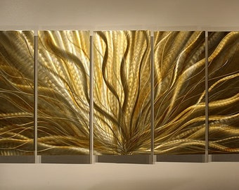 Large Painted Modern Metal Wall Large Abstract Artwork Champagne Plumage XL / by Jon Allen